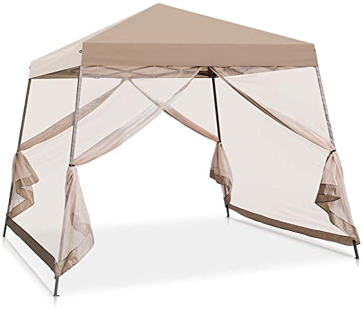Amazon Com Cool Spot 10 X 10 Slant Leg Pop Up Canopy Tent W Mosquito Netting 64 Square Feet Of Shade One Person Set U In 2020 Canopy Tent Pop Up Canopy Tent