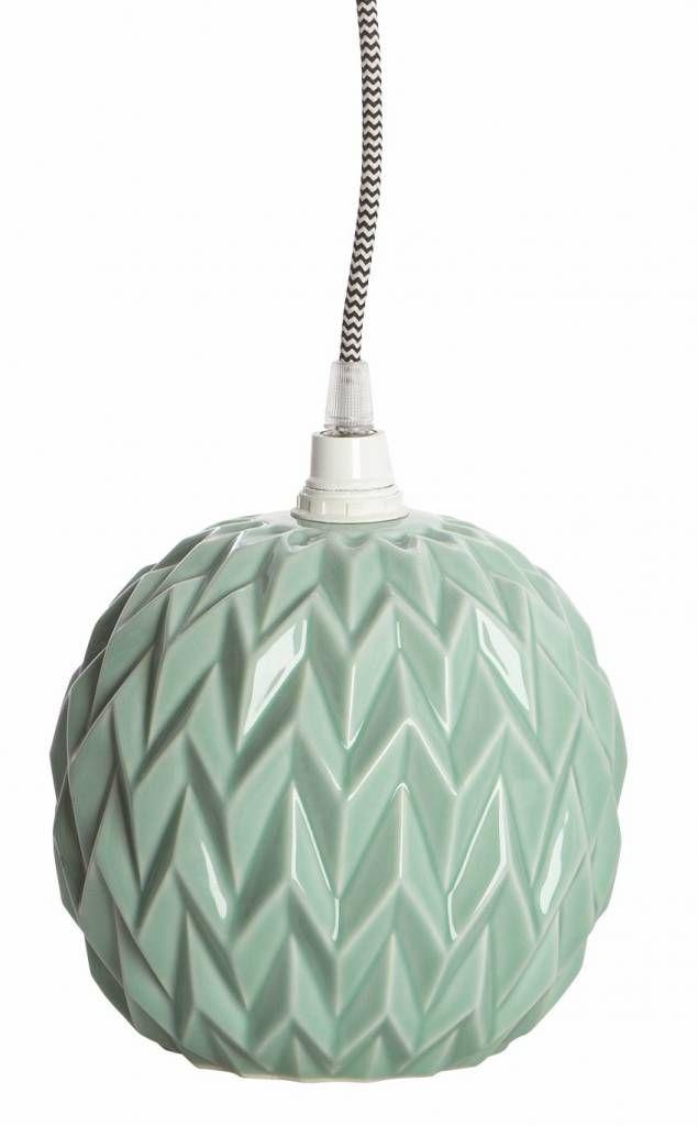 Housedoctor Lampenschirm/Hängelampe DESIGN aus Keramik mit Relief, mintgrün, 17 cm, 39 euro