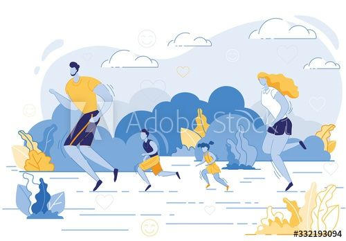 Happy Family Sport Activity. Mother, Father and Kids Exercising, Running in Raw in Park or Countryside at Morning. Dad, Mom, Son and Daughter Fitness Healthy Lifestyle Cartoon Flat Vector Illustration #Ad , #AD, #Running, #Exercising, #Kids, #Countryside, #Park