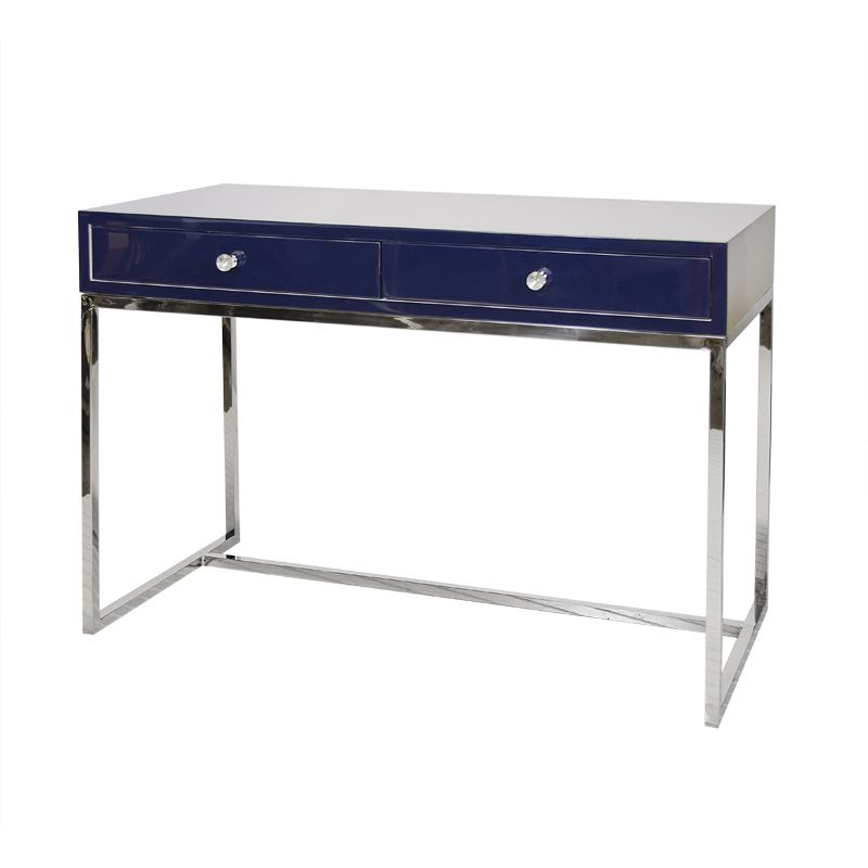 NAVY LACQUER 2 DRAWER DESK ON POLISHED STAINLESS STEEL BASE