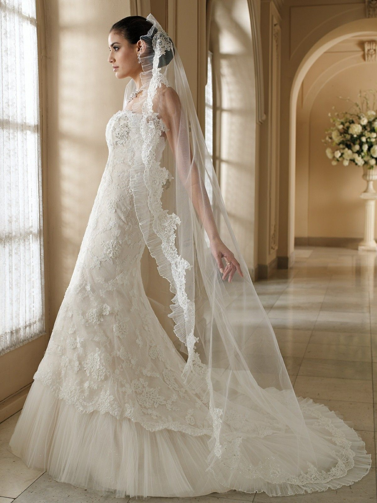 Strapless Lace & Pleated Tulle Trumpet Silhouette Wedding Gown ...