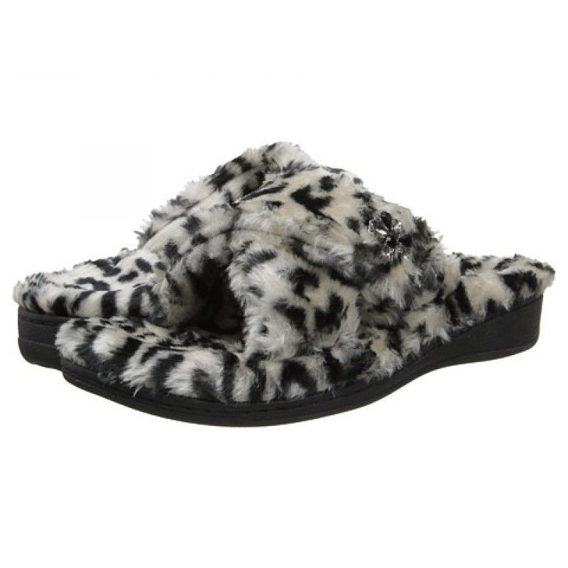 5ae03a12531e Vionic by Orthaheel Relax Luxe Black Animal PRint Slippers NWT Sz 9  Vionic   RelaxLuxe