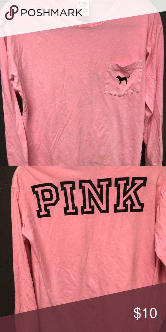 Victoria Secret PINK T Shirt Coral Dog Logo Crew Neck Campus Tee Long Sleeve New