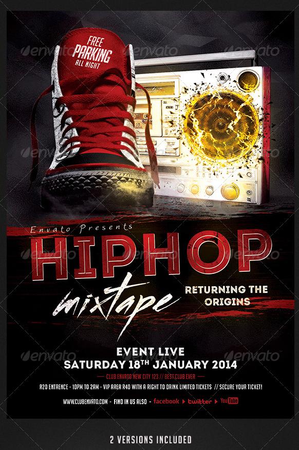 Hip Hop Mixtape Flyer Template Party Flyer Templates For Clubs