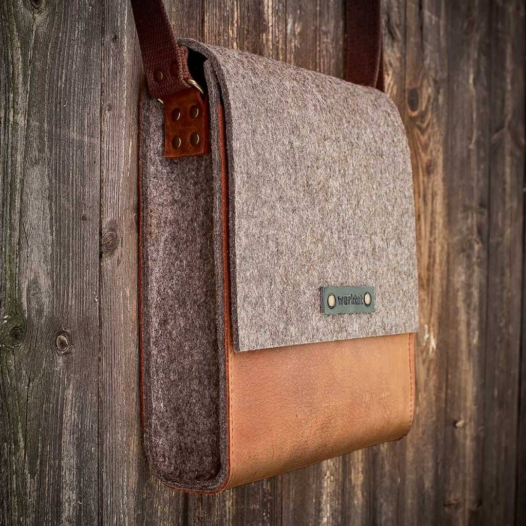werktat Messenger Bag, Filz, Leder rot braun, Umhängetasche