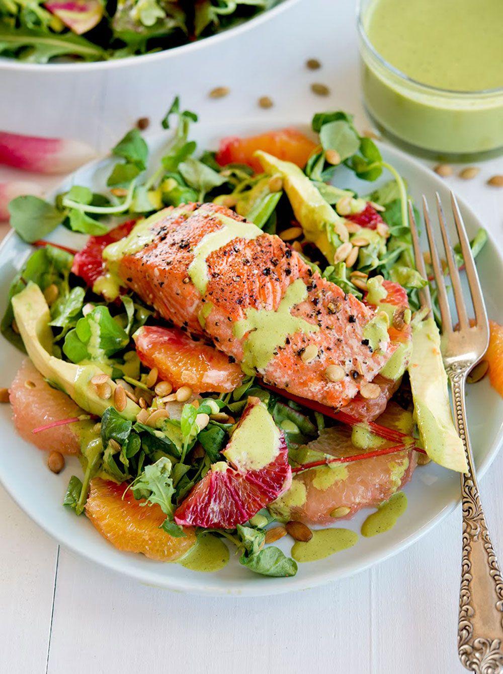 Grapefruit avocado salmon salad with poblanolime dressing
