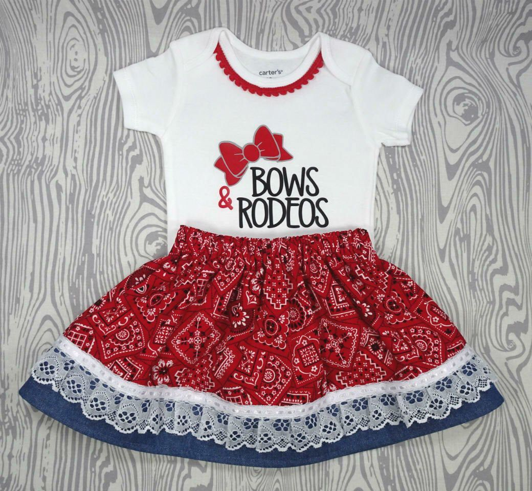 Western Cowgirl Bows and Rodeos Twirl Skirt Bodysuit Baby Girl Toddler Red Bandana Print Denim Lace Cowgirl Western Rodeo #twirlskirt Welcome to MicBeeDesigns!!           This listing is for ONE (1) beautifully handmade twirl skirt and bodysuit outfit.  The skirt is made with a rodeo, cowgirl, and country theme fabric and the bodysuit features a coordinating design using high quality heat transfer vinyl.    The vinyl is professionally heat pressed for longer wear. All the creations from MicBeeDe #twirlskirt