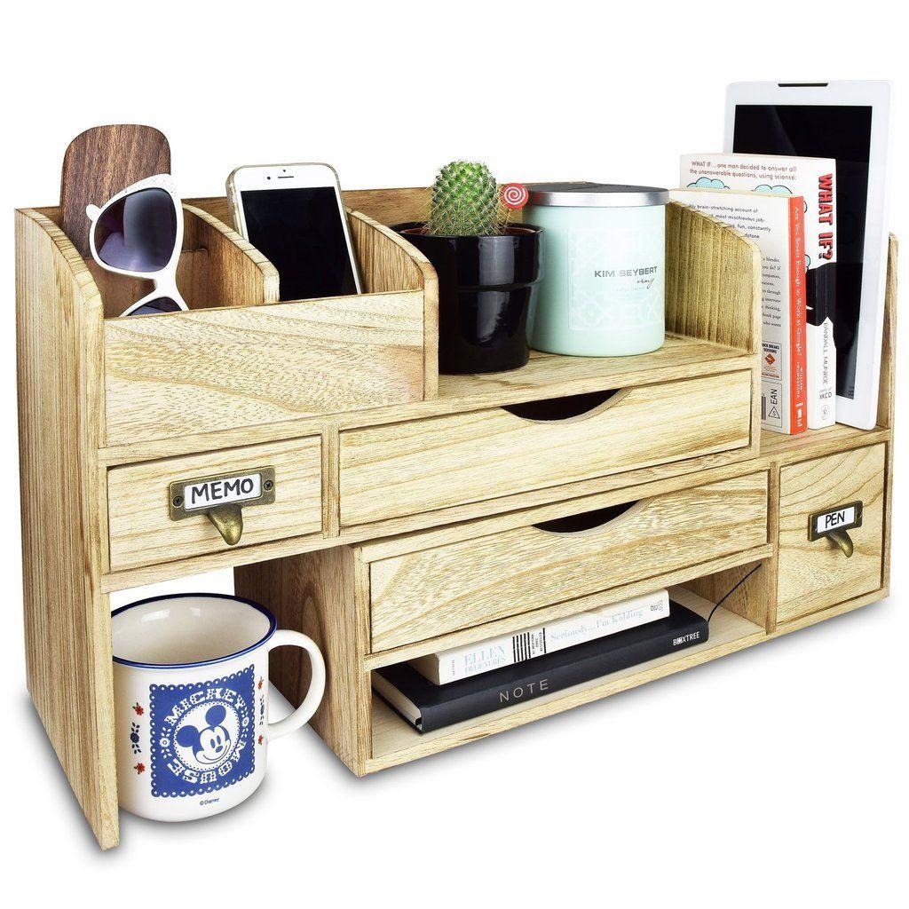 #SAT107 Adjustable Wooden Desktop Organizer Office