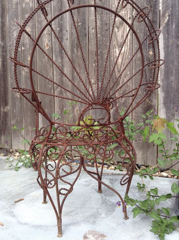 Vintage Victorian Style 1950's Wrought Iron Peacock by