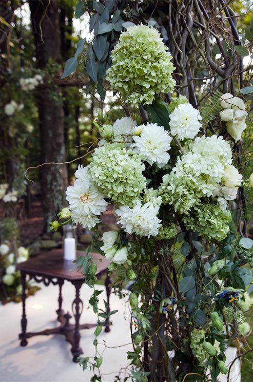 White dahlias pop against light green hydrangeas.