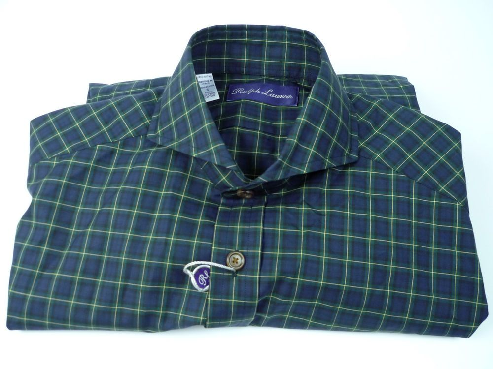 RALPH LAUREN PURPLE LABEL COTTON PLAID SHIRT-SPREAD COLLAR-MADE IN ITALY #PoloRalphLauren #ButtonFront