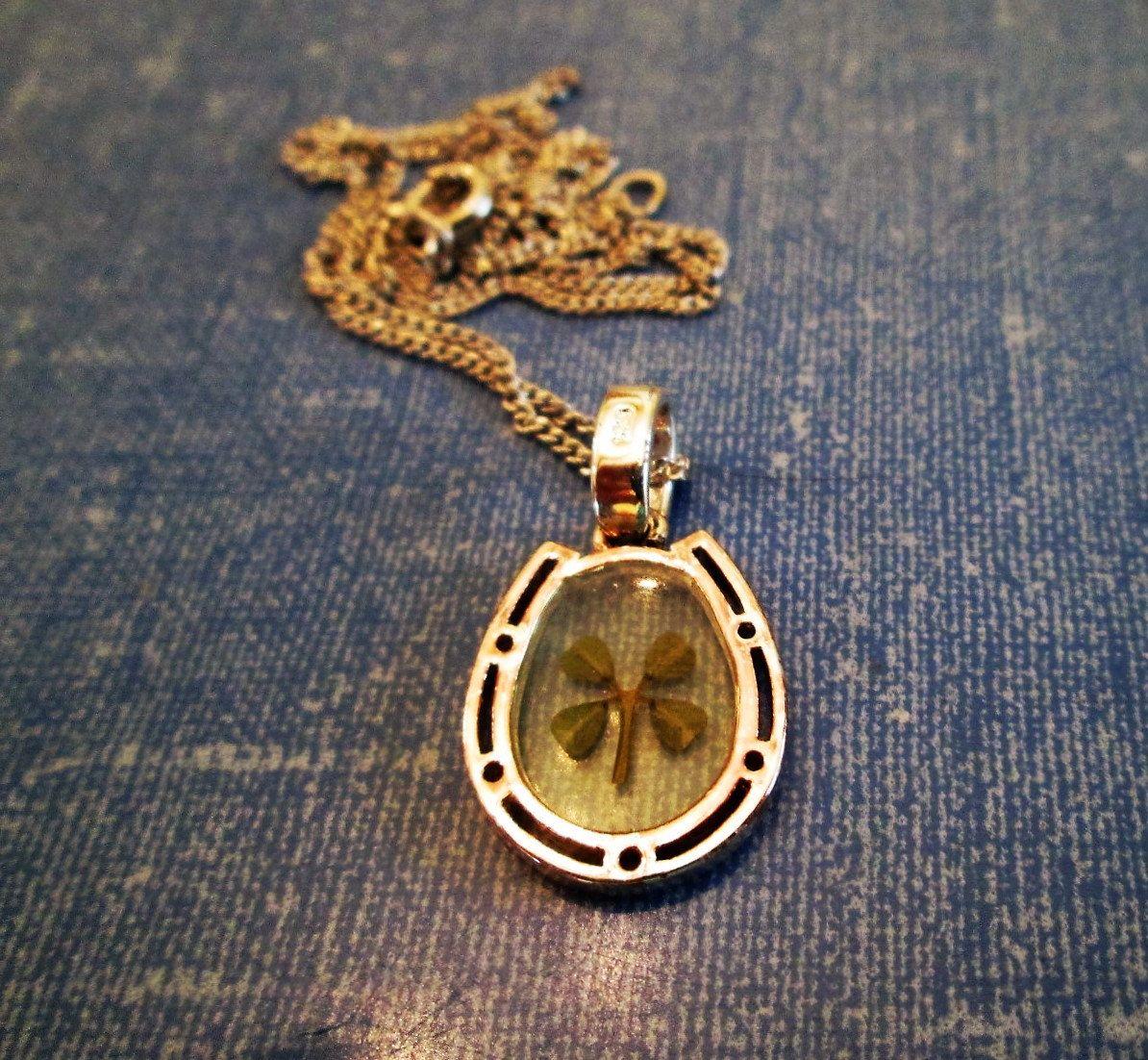 NECKLACE  - Vintage - Good  Luck - Real 4 Leaf CLOVER - HORSESHOE - Lucite -  Estate Sale - 16 inch sterling -   necklace226 by MOONCHILD111 on Etsy