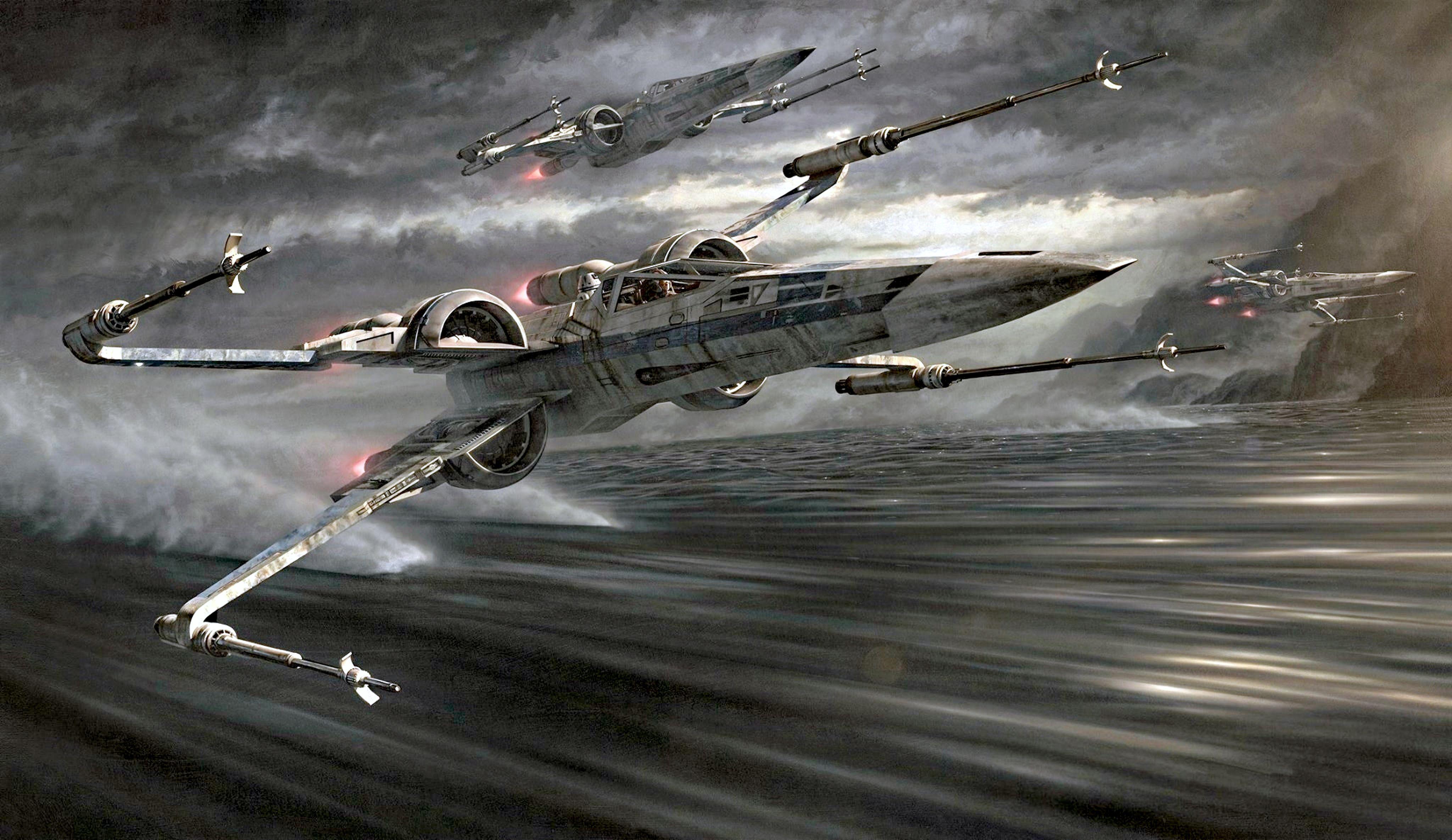 Star Wars Skimming X Wing Fighters Star Wars Illustration Star Wars Wallpaper Star Wars Ships