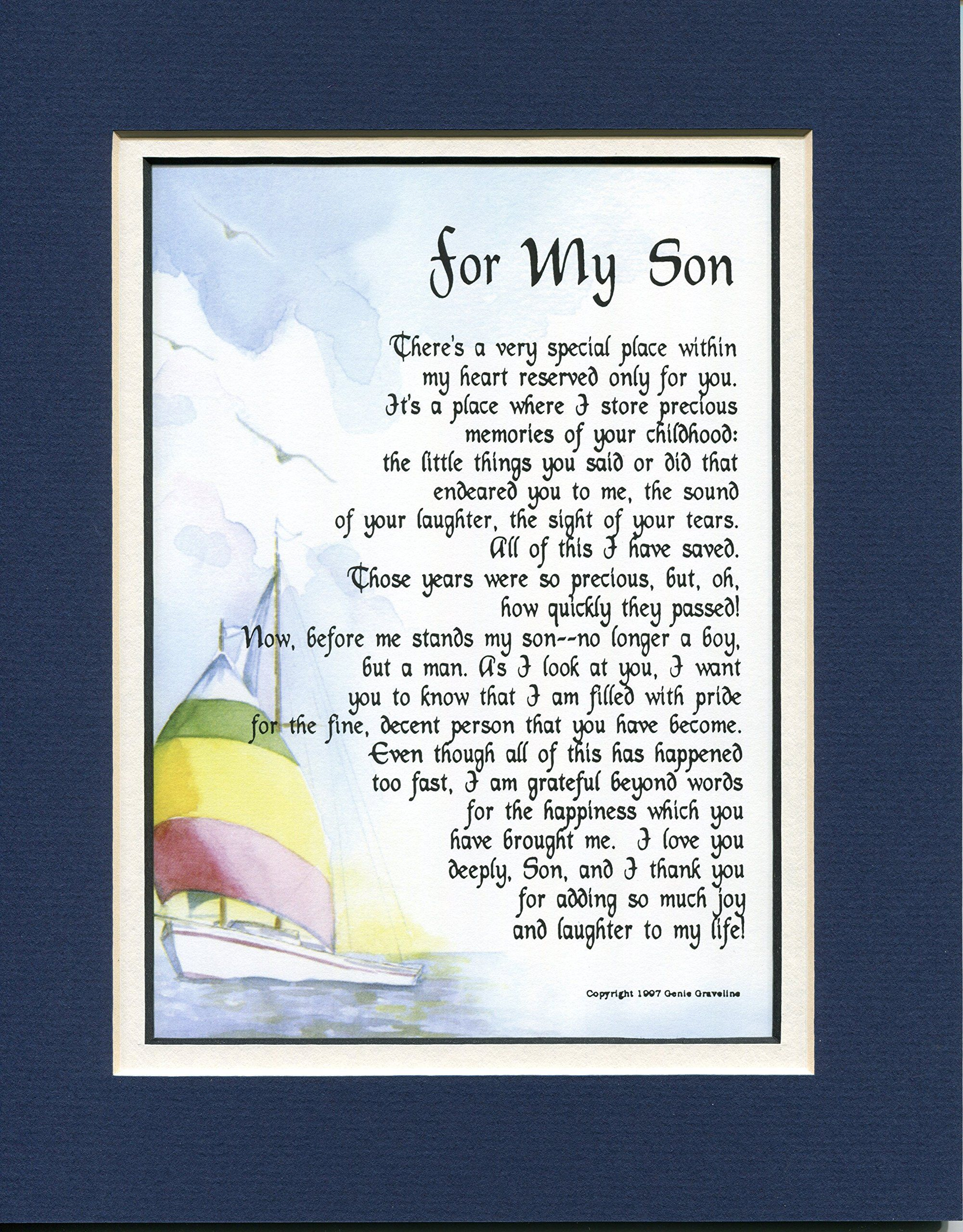 For My Son, 51, A Touching 8×10 Poem, Doublematted Navy