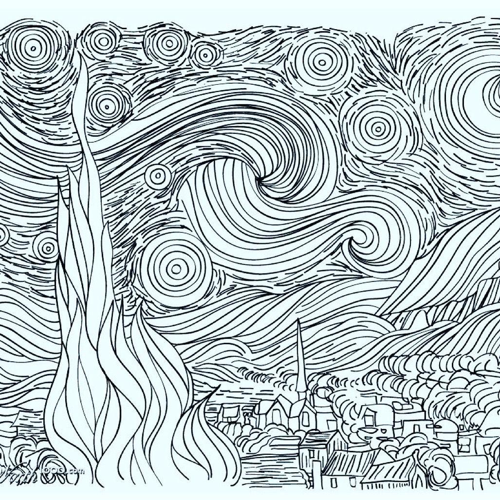 Pin By Danielle Sugano On Drawing Projects Van Gogh Coloring Starry Night Van Gogh Van Gogh Drawings