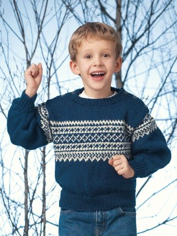 Free Pattern Knit This Great Winter Sweater For Kids From Patons