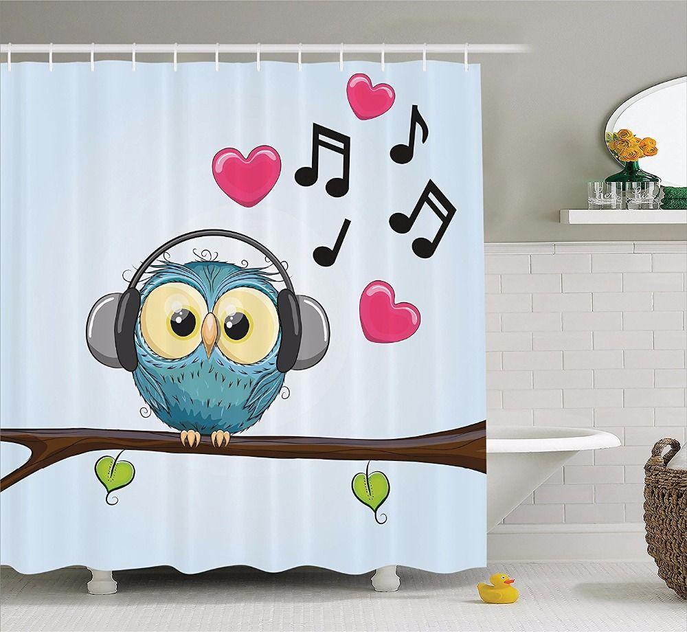High quality arts shower curtains cute cartoon owl listen to music