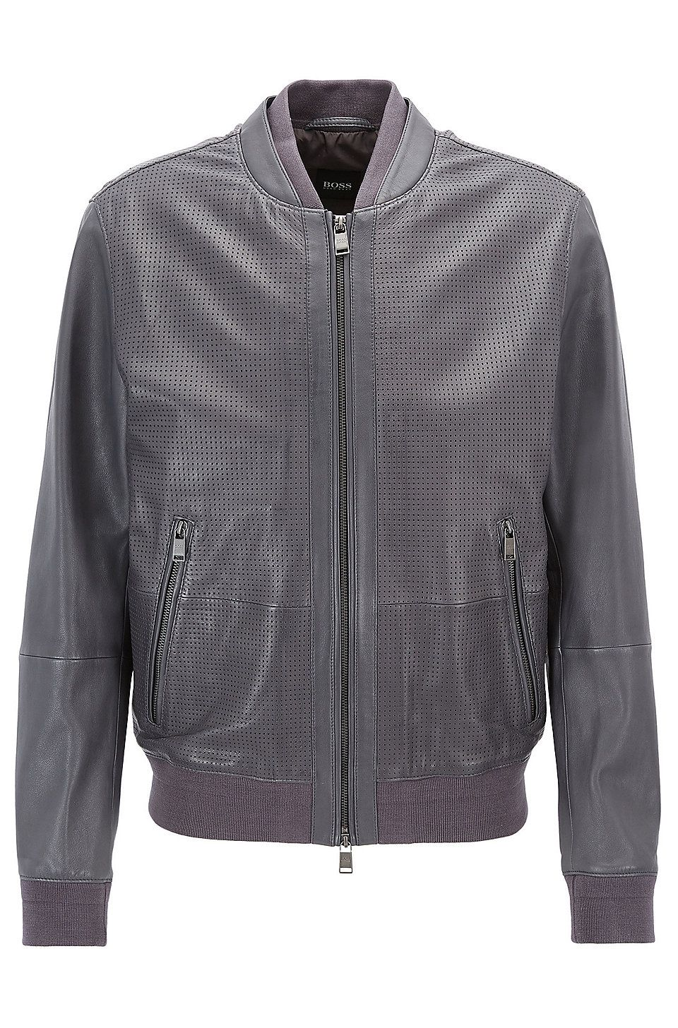 Hugo Boss Bomber Jacket In Perforated Leather Dark Grey Leather Jackets From Boss For Men In The Official Hugo Jackets Leather Jacket Men Grey Leather Jacket [ 1456 x 960 Pixel ]