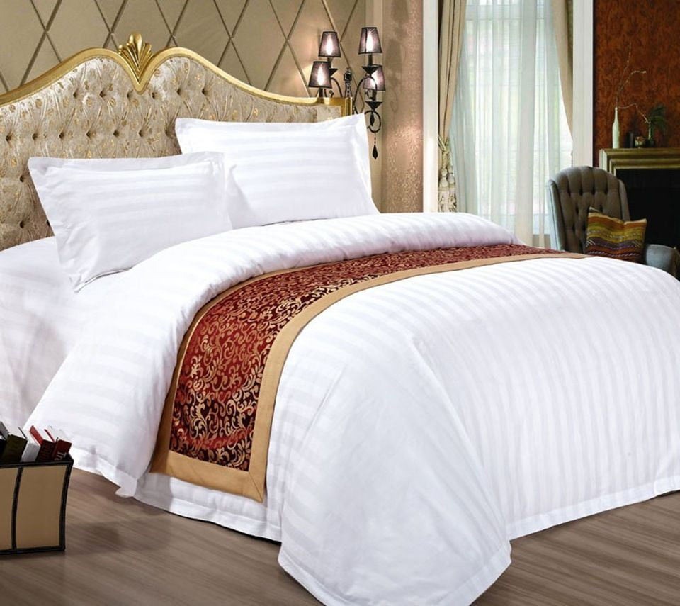 China Wholesale 100% Egyptian Cotton 400TC White Hotel Linen / Hotel Bed  Sheets / Hotel