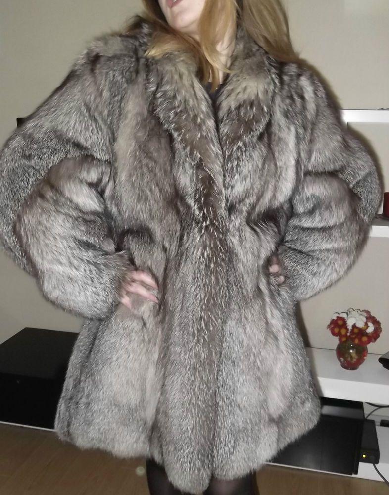 CANADIAN WOMEN'S GREY FOX FUR COAT SIZE M- L #NOBRAND #OtherCoats