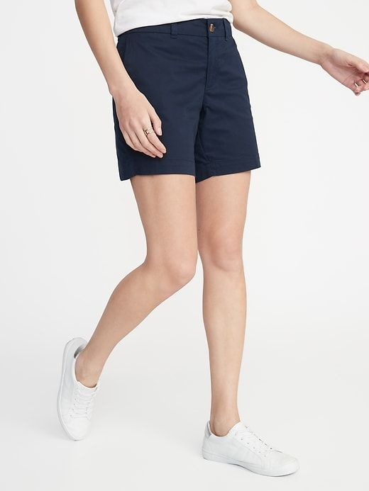 6bdb80b205 Old Navy Women's Mid-Rise Twill Everyday Shorts - 7-Inch Inseam In The Navy  Size 10