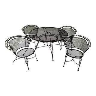 Arthur Umanoff Wrought Iron Patio Set Table Chair Was 1750 Now 885 Wrought Iron Furniture Wrought Iron Patio Chairs Wrought Iron Patio Furniture Black metal patio furniture