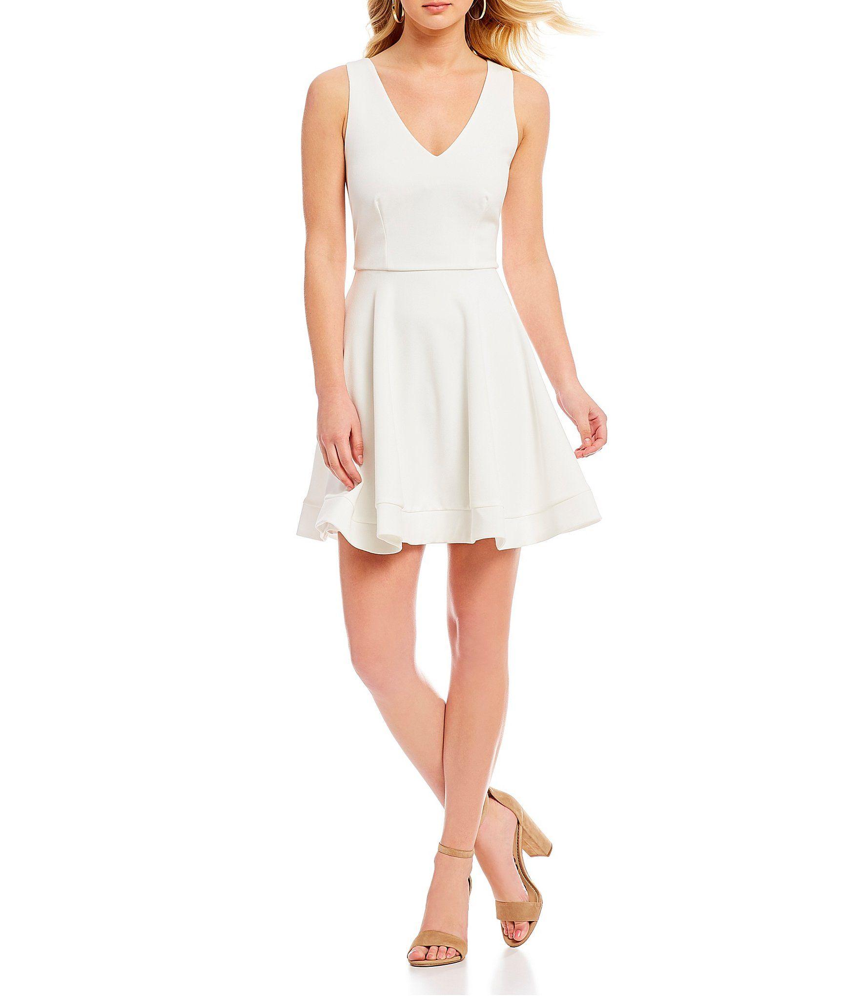 B darlin sleeveless vneck bowback fitandflare dress style