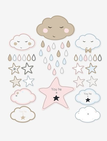 Babyzimmer Wandtattoos Wolken und Sterne MEHRFARBIG  kids - babyzimmer sterne photo