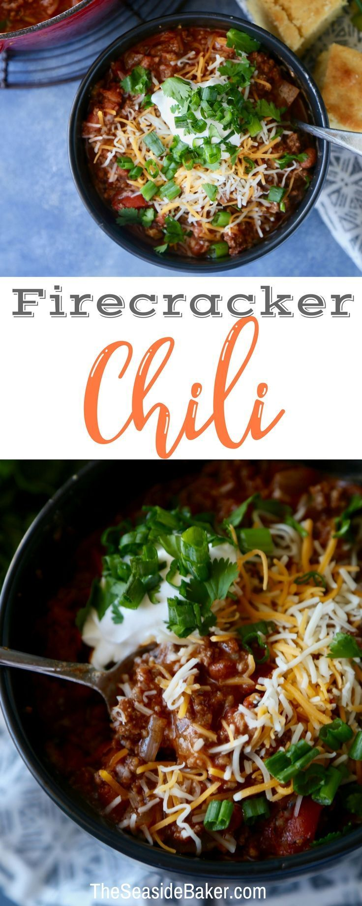 Firecracker Chili Recipe - spicy and perfect for cool fall or winter nights! | #theseasidebaker #chili #chilirecipe #dinnerrecipe #firecrackerchili #fallrecipe | see this and other delicious recipes at TheSeasideBaker.com #chilirecipe