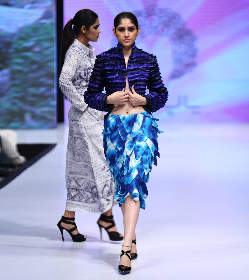 Blue Cotton Tie Dyed Skirt #designerwear #satin #crepe #fusionwear