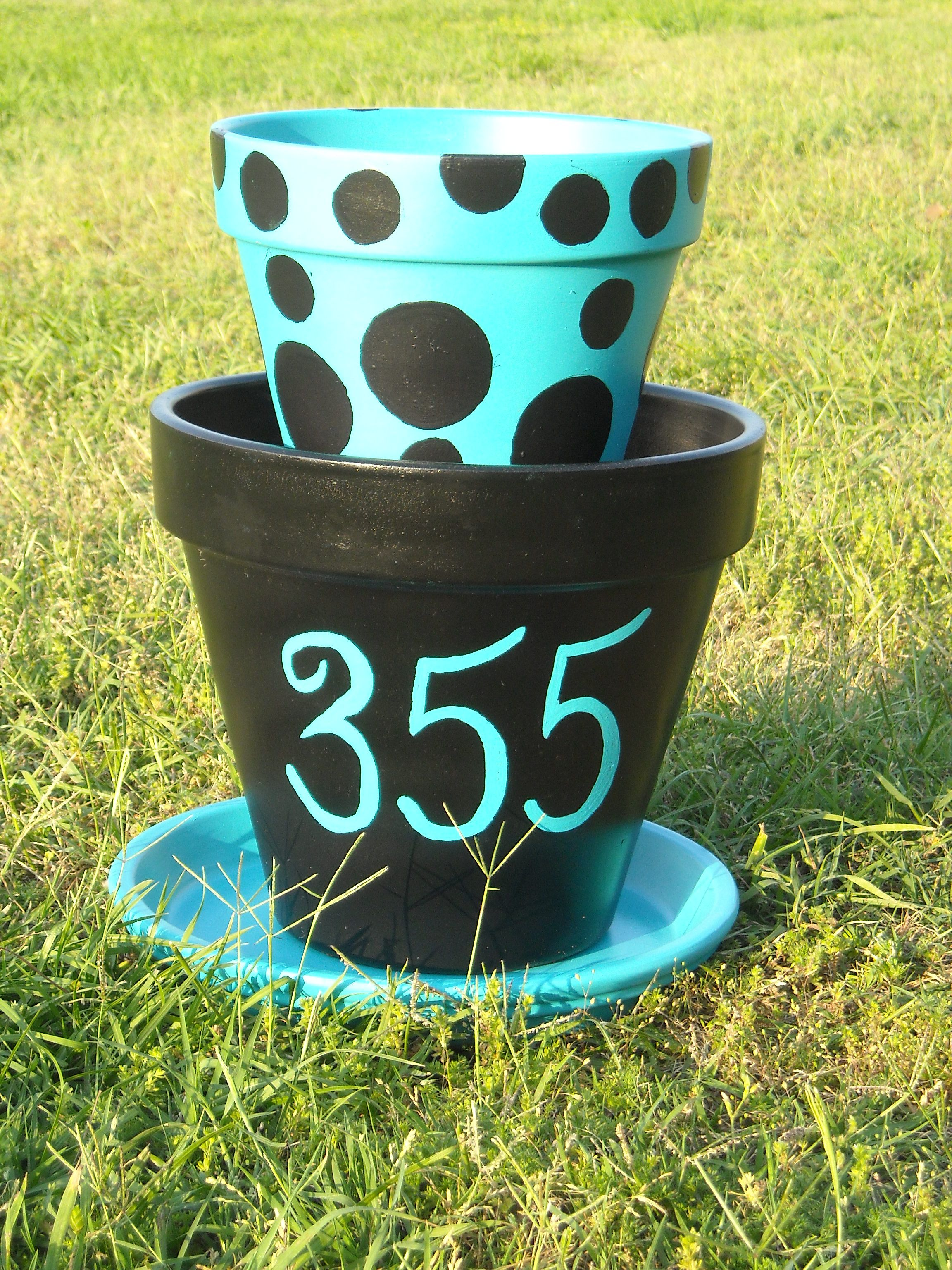 painted clay pots for my porch love the colors. Black Bedroom Furniture Sets. Home Design Ideas