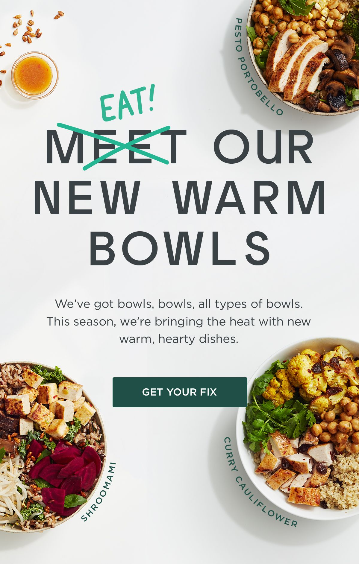 Email design from Sweet green Cauliflower curry, New