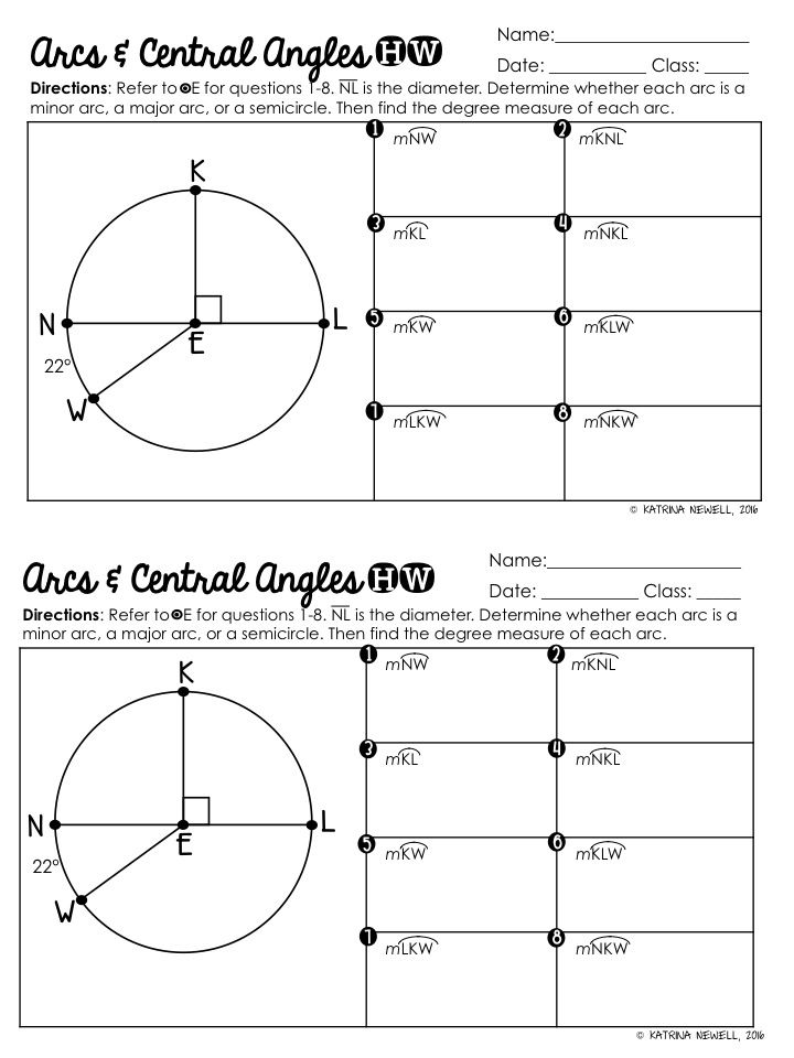 Central Angles and Arcs in Circles Graphic Organizer – Central Angle Worksheet