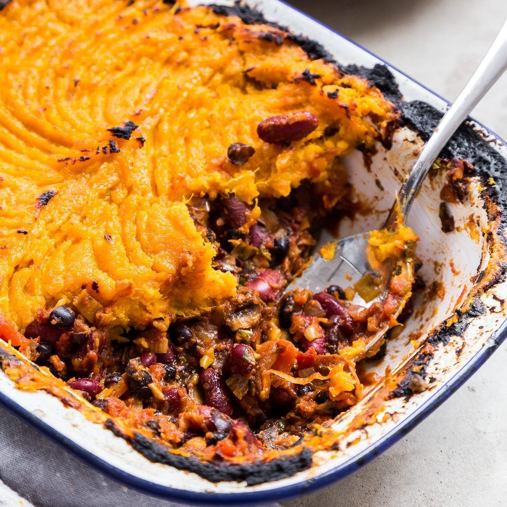 Sweet Potato & Black Bean Shepherds Pie Recipe · Deliciously Ella
