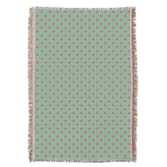 Country Green/Fuchsia Polka Dot Throw Blanket