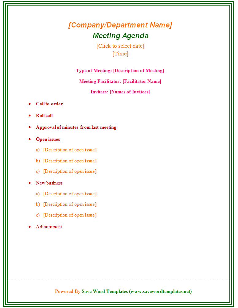 enticing template word sample for meeting agenda with type