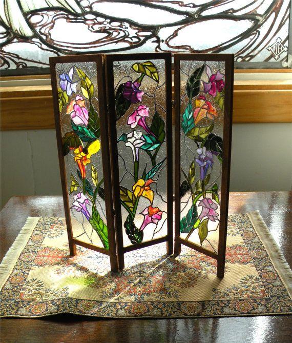 Dollhouse Miniature 1:12 Scale Artisan Leaded Glass Room Screen via Etsy  so lovely