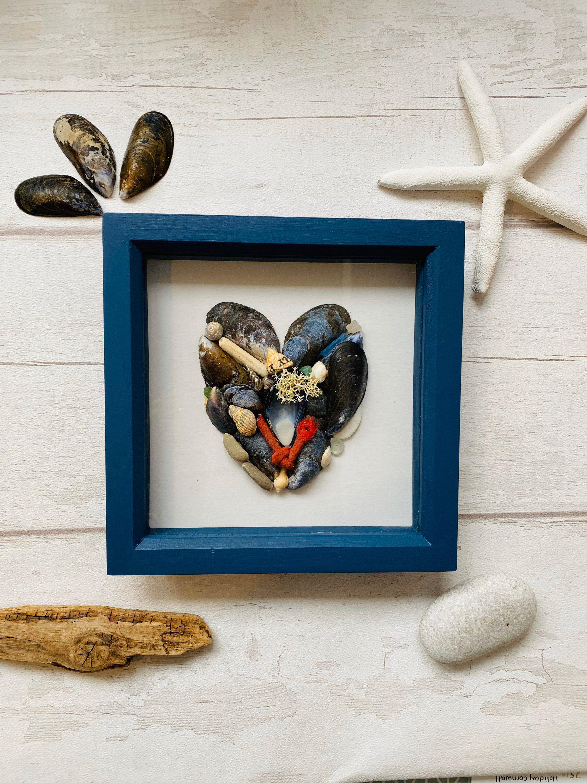 Coastal Wall Art • Beach Treasure Frame • Box Frame Art • Coastal Art • Wall Decor • New Home Gift • The SeaSalt Shed • Nautical Art • Beach #etsy #blue #housewarming #framing #framed #coastaltropical #bedroom #nautical #newhome #uniquegift