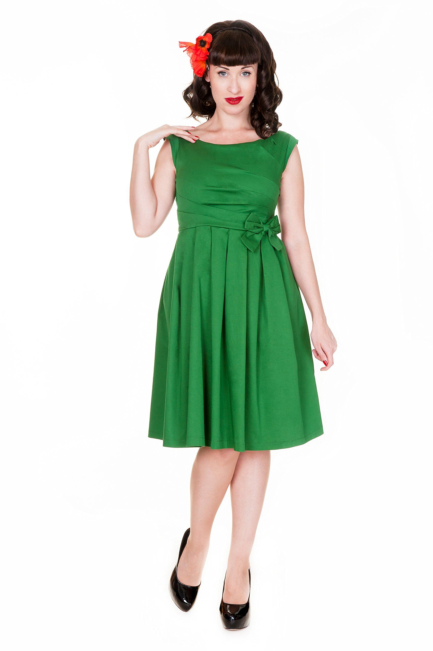 99dac49cca1b Lindy Bop Women s  Lucille  Classy 50 s Vintage Style Pleated Rock N Roll  Party Dress at Amazon Women s Clothing store  Rockabilly Dress