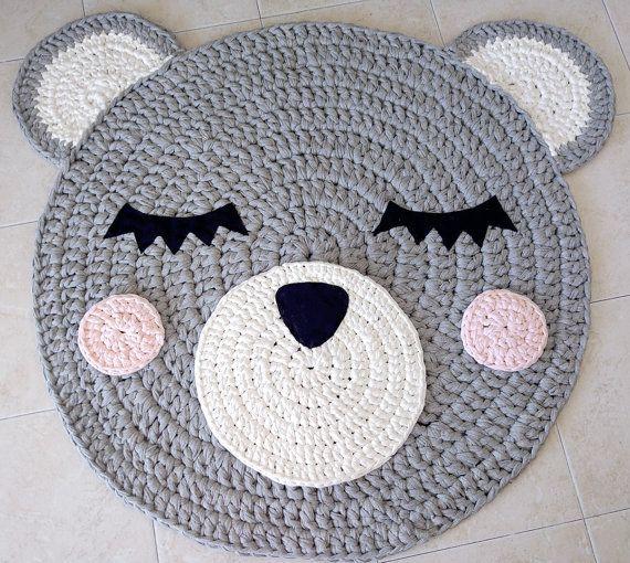 Bär häkeln Teppich Teppich tragen handgefertigtes von Ponponi ...