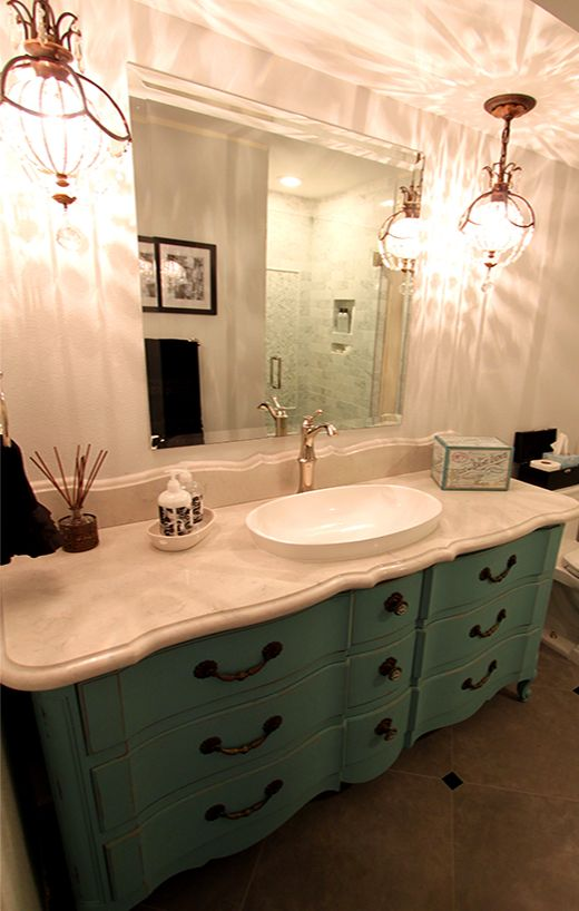 DIY Small Bathroom Vanity Using Vintage Dresser From The Salvation - Dressers as bathroom vanities for bathroom decor ideas