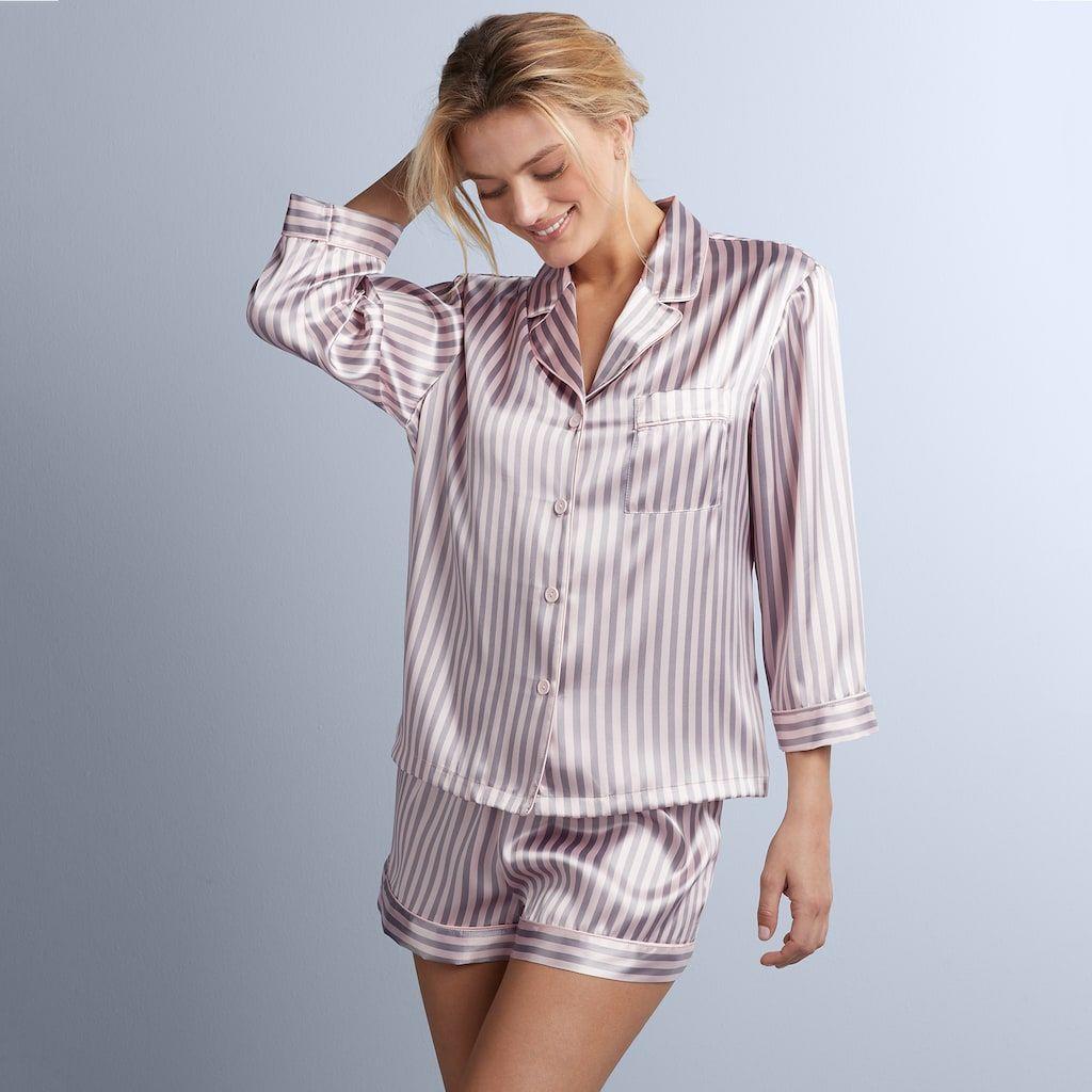 6030925b9 Women's Apt. 9® Satin Shirt & Sleep Shorts Pajama Set in 2019 ...