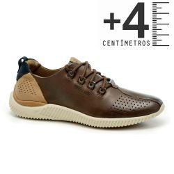 3209a1ddc Tênis em Couro com Salto Interno Dakar - Café | ayakkabi | Shoes ...