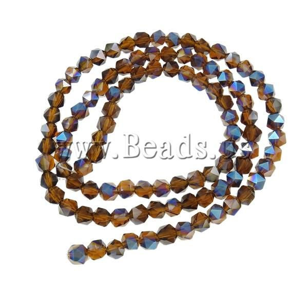 Crystal Beads, Polygon, half-plated, faceted, 6mm,