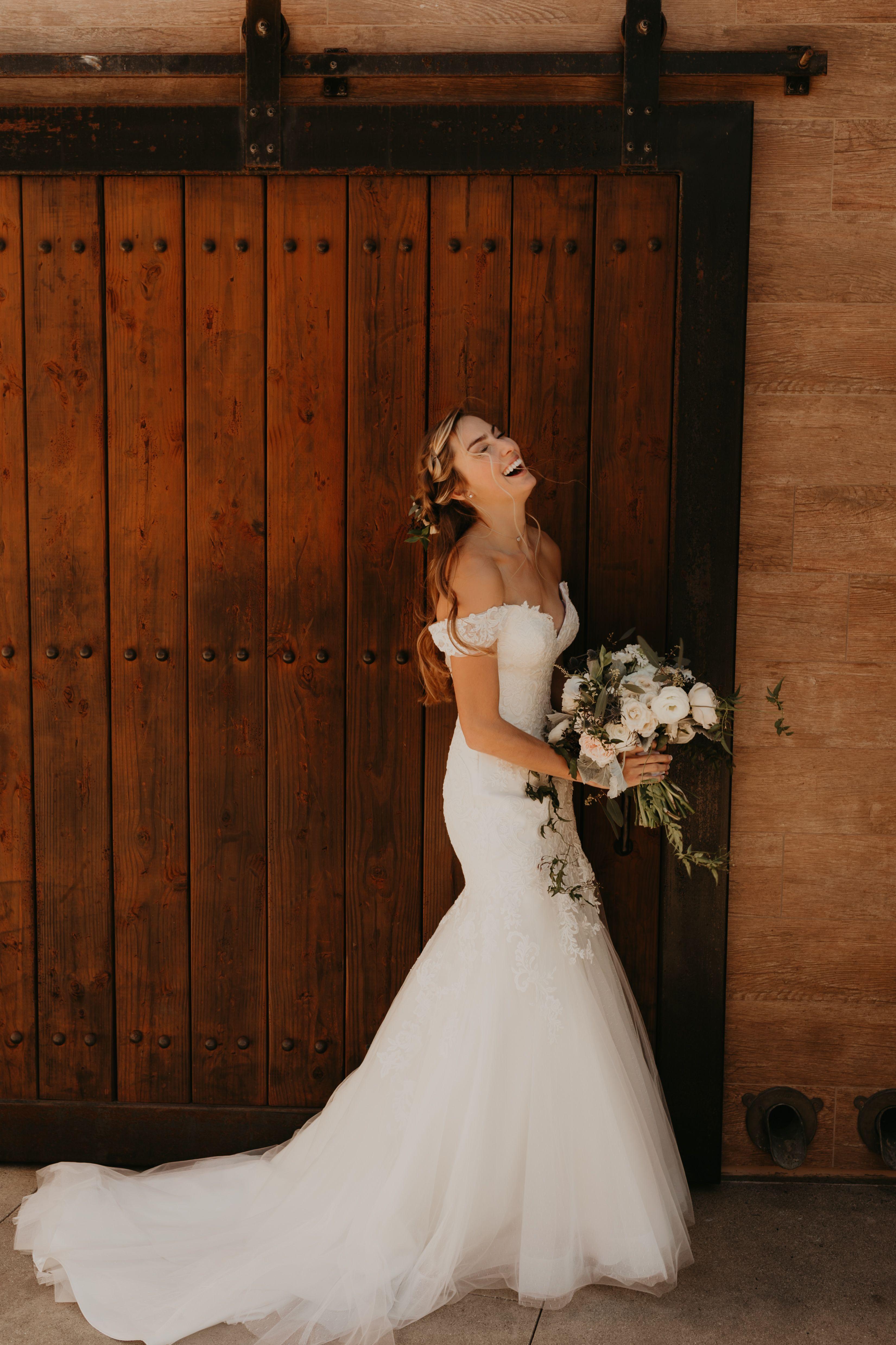 Off The Shoulder Wedding Dress Los Angeles Wedding Photographer In 2020 Barn Wedding Dress Wedding Dresses Los Angeles Barn Wedding