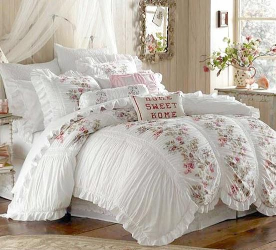 3 piece shabby white ruffles vintage victorian country cottage chic queen duvet set home decor. Black Bedroom Furniture Sets. Home Design Ideas