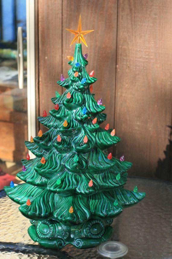 Vintage Ceramic Christmas Tree Lighted, 1975, Retro Christmas Tree
