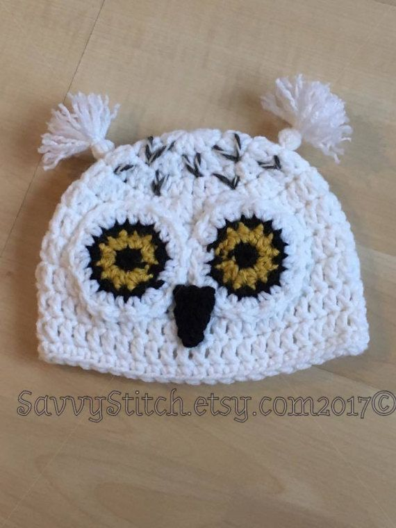 Snowy Owl Cocoon Hedwig Inspired White Owl Crochet Hat Beanie ...