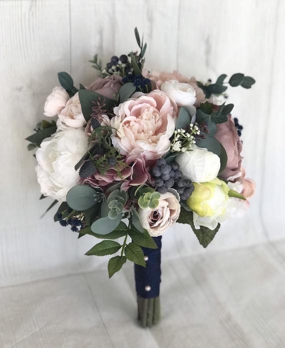 Hochzeitsstrauß, Staub Rose Brautstrauß, Mauve Bouquet, Dusty Rose & Marine Hochzeitsblumen, Mauve Seide Blumen, Mauve und Marine Bouquet