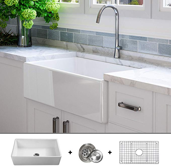 Luxury 33 Inch Solid Not Hollow Ultra Fine Fireclay Modern Farmhouse Kitchen Sink In White Farmhouse Sink Kitchen Modern Farmhouse Kitchens Farmhouse Sink